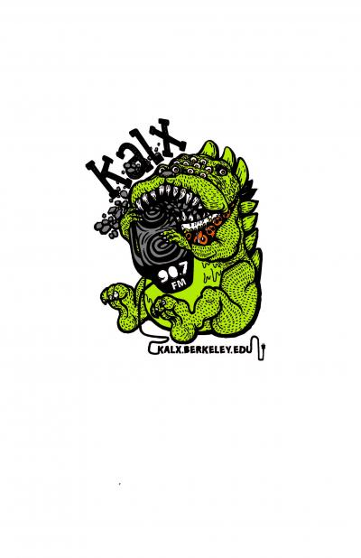 2017 KALX tshirt design close-up. Green dog-like creature with many eyes and sharp teeth.