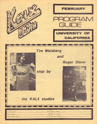 KALX Program Guide Cover February 1977
