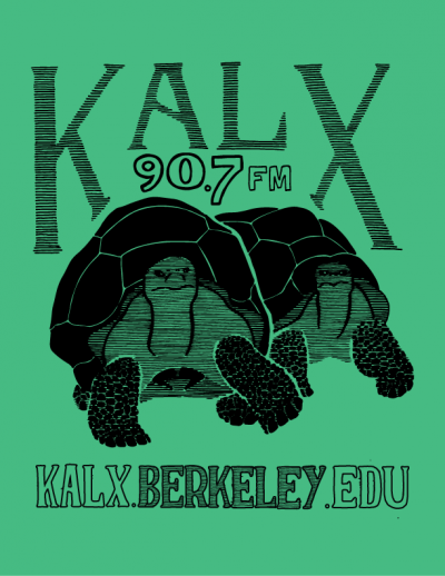 2017 KALX sticker. Two tortoises on a green background