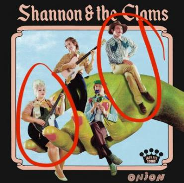 """Cover of the album """"Onion"""" by Shannon & The Clams with circles over band members Shannon and Nate"""
