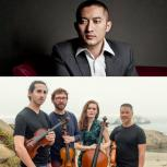 A horizontally split photo, the top of Huang Ruo in a grey suit, the bottom of Del Sol Quartet holding their instruments  while standing on a cloudy beach