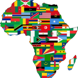 Map of Africa with flags